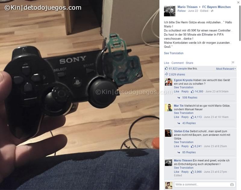 mario gotze regala control ps4 a fan