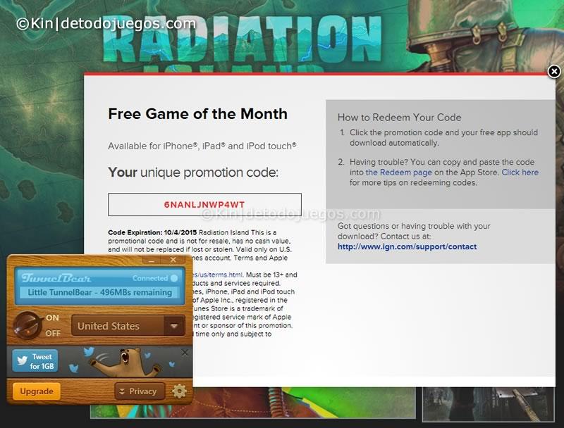 codigo canje radiation island ios - codigo